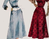 1950s Glam Dress w/ Standup Detachable Wing Collar and Cuff Simplicity 8443 Vintage 50s Rockabilly Sewing Pattern Size 20.5 Bust 39 UNCUT FF
