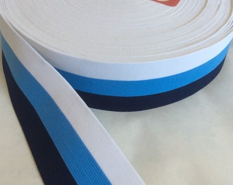 Striped elastic in true blue, navy blue, and white, extra wide 2 1/2 inches wide