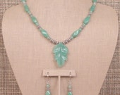 Jade - Soft Green Aventurine and Sterling Silver Necklace with Carved Leaf Pendant and Earrings.