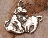 Cat and Dog Charm in Sterling Silver