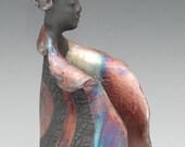 Buddha in a Graceful Gesture of Raku Ceramics Copper Red Blue by Anita Feng