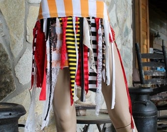 Festival Fashion Tattered Mini Skirt, circus stripe skirt, pirate festival, orange red white, belly dance shimmy skirt, pixie, Small Size