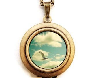 The Sky Went On Forever - Flying Seagull  Photo Locket Necklace