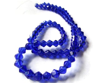 80 4mm Cobalt Blue Beads Glass Bicone Beads Faceted Beads Spacer Beads Small Beads Jewelry Making Beading Supplies Bead Strand