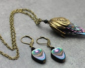 HALF PRICE SALE Polymer Clay and Brass Necklace with Matching Peacock Feather Earrings