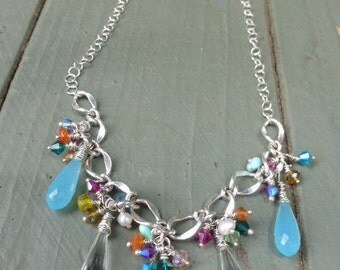 Spring-Summer Crystal Chain Necklace & Earrings-Silver