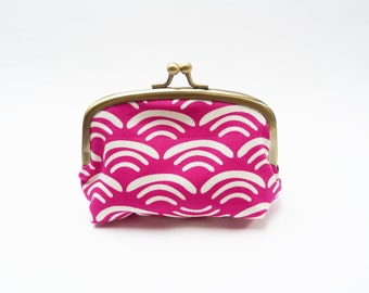 Coin purse, scallop print, magenta pink and cream, cotton pouch