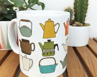teapots illustrated mug - retro teapots / vintage teapots / printed mug / tea mug / tea gift