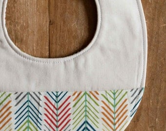Organic Baby Bib, QUILLS CREAM; Multicolour and Ivory Chevron, Quill Newborn Baby Bib Gift (Last One)