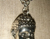 Large Buddha Head Necklace Silvertone inv 1197