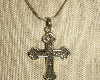 Budded Cross Necklace Sterling Silver inv1227