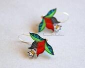 Flower buds dangle earrings, Flower jewelry,  Spring dangle earrings, gift for her