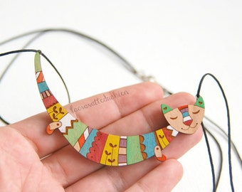 Wooden cat necklace - Cat statement necklace - colorful wood cat jewelry