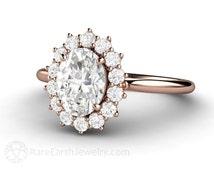Oval Moissanite Engagement Ring Cluster Halo Forever Brilliant Moissanite Ring Conflict Free Diamond Alternative