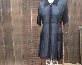 Babydoll Lace Collar Dress 90s Vintage Grunge Dress Black lace party dress Sheer black Dress M