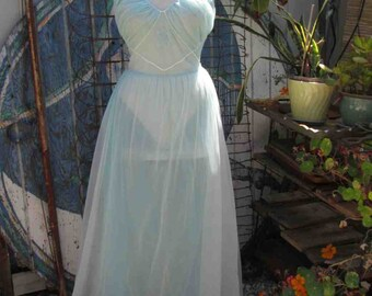Fairy Blue Chiffon 50s Vintage Nightgown vintage wedding Pandora Long nylon sheer nighty S M