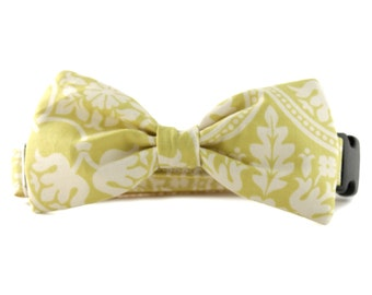 Yellow Bow Tie Dog Collar - Yellow and White Floral Bow Tie Dog Collar - Solana Bowtie Dog Collar- yellow white bowtie for dogs