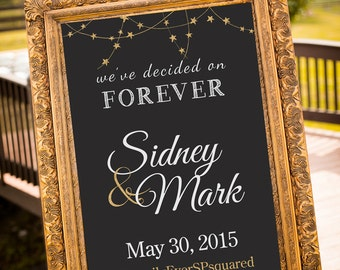 PRINTABLE - we decided on forever, Gold Wedding Decor, Black & Gold Party Decor, Gatsby Wedding, chalkboard Wedding Sign, Art Deco Wedding,