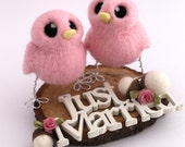 Hers 'n' Hers Wedding Cake Topper Gay Wedding Cake Topper Needle Felted Birds