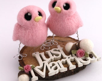 Hers 'n' Hers Wedding Cake Topper Gay Lesbian Wedding Cake Topper Needle Felted Birds