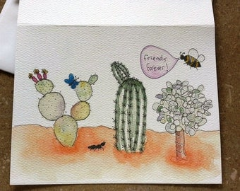 Original watercolor and pen greeting card  FRIENDS FOREVER