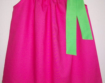 Pillowcase Dress Girls Dress Hot Pink Lime Green Cotton Solids Birthday Party Dress Spring dress Summer dress baby dress toddler clothes