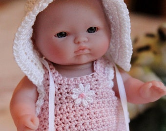 Crochet outfit for Berenguer 5 inch Lots to Love baby doll Sunsuit Bonnet Pink White Daisy