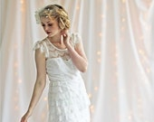 Angel Lace Illusion Neckline Wedding Gown with cap flutter sleeves