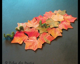 Leaf Table Runner with Soft Sculpture Worms
