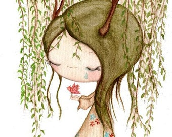 Willow Tree Print Art Girl Bird Weeping Willow Wall Art   Leaving The Nest