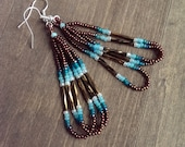 Native American beaded earrings - brown and teal earrings - beadwork earrings - seed beaded earrings