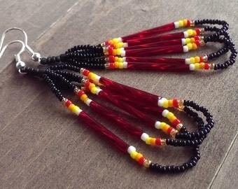 Native American beaded earrings - black and red earrings - seed beaded earrings