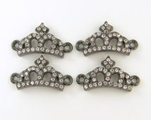 Crown Bracelet Connector Gunmetal Rhinestone Crown Jewelry Link Charm Bracelet Link Jewelry Connector - Open Crown Finding |S12-16|4 XH