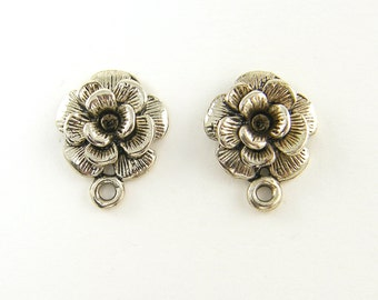 Antique Silver Stud Earring Finding with Loop Earring Posts Jewelry Supply  S18-3 2