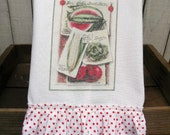 Kitchen dish towel Vintage Seed Veggies Catalog Shabby Prairie Farmhouse cotton Tattered ruffles ECS RDT