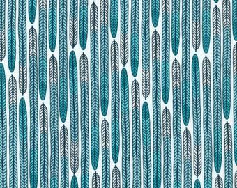 Cloud9 Biology Plumes Blue Organic Cotton Fabric