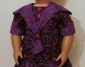 "Purple, drop-waist dress for American Girl, 18"" doll, OOAK"