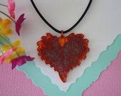 Copper Cottonwood Leaf, Real Leaf,  Copper Leaf, Heart Shaped Leaf, Real Copper Leaf Necklace,  LL77