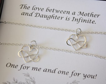 Mother and Daughter Necklace Gift Set, 2 Infinity Heart Necklaces, Mother Gift, Set of two, Sterling Silver, Mothers Day, Daughter Gift