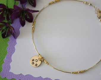 Gold Monogram Mom Anklet, Initial Charm Anklet, Gold Anklet, Beach, Vacation, Choose your Charm Anklet, Charm anklet