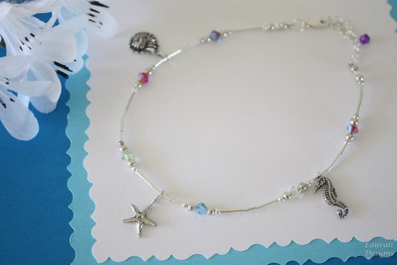 Charm Anklet, Sterling Silver Anklet, Crystal Anklet, Adjustable Anklet, Ocean Anklet, Beach Anklet, Summertime, Nautical