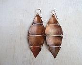 Copper Leaf Earrings - Earthy Earrings - Boho Copper Earrings - Handcrafted Rose Gold Earrings - Copper Patina Earrings - Rustic Earrings