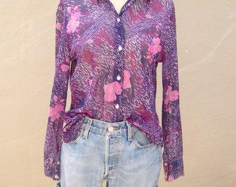 Purple Rain / 70s sheer floral blouse / sexy boho long sleeve button up / womens medium