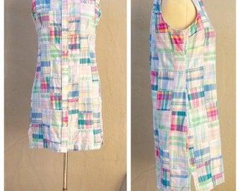 Ralph Lauren dress / Madras patchwork button up dress / sleeveless cotton mini dress / plaid cotton shift / womens 4 6 small-medium