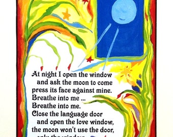 AT NIGHT I Open the Window RUMI Yoga Meditation Moon Inspirational Quote Zen Love Motivational Spiritual Heartful Art by Raphaella Vaisseau