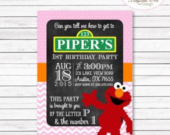 Elmo 1st Birthday Party Invitation, Elmo Invitation, Elmo Girl Invitation, Elmo Party, Elmo printable invitation, Elmo invites