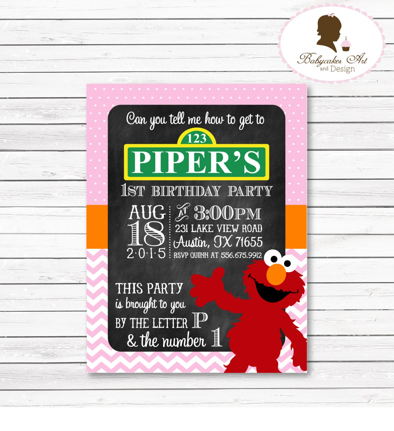 DIY Elmo 1st Birthday Party Invitation Elmo by BabycakesArt
