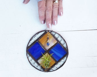 Stained Glass Air Plant Holder - Round Checkered  Geometric with royal blue and coffee