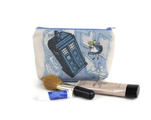 Alice in Wonderland Dr Who Zipper Pouch / Make Up Bag in Falling through the Rabbit Hole by Karen Hallion