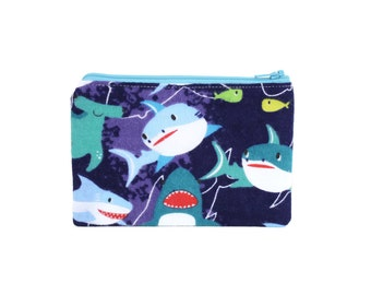 Shark Zipper Pouch / Cute Hammerhead and Great White Make Up Bag